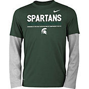 Nike Youth Michigan State Spartans Green/Grey Football Sideline Staff 2-Fer Legend Long Sleeve Shirt