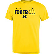 Jordan Youth Michigan Wolverines Maize FootbALL Sideline Legend T-Shirt