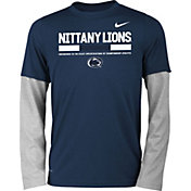 Nike Youth Penn State Nittany Lions Blue/Grey Football Sideline Staff 2-Fer Legend Long Sleeve Shirt