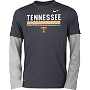 Nike Youth Tennessee Volunteers Anthracite/Gray Football Sideline Staff 2-Fer Legend Long Sleeve Shirt