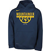 Nike Youth West Virginia Mountaineers Blue Elite Basketball On-Court Pullover Therma-FIT Hoodie