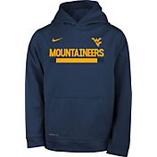 Nike Youth West Virginia Mountaineers Blue Football Sideline Pullover Therma-FIT Hoodie