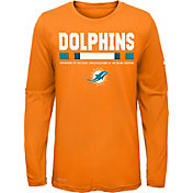 Nike Youth Miami Dolphins Legend Staff Orange Performance Long Sleeve Shirt