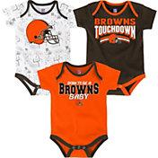 NFL Team Apparel Infant Cleveland Browns Playmaker 3-Piece Onesie Set