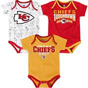 NFL Team Apparel Infant Kansas City Chiefs Playmaker 3-Piece Onesie Set