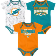 NFL Team Apparel Infant Miami Dolphins Playmaker 3-Piece Onesie Set
