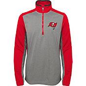 NFL Team Apparel Youth Tampa Bay Buccaneers Matrix Quarter-Zip Fleece Pullover
