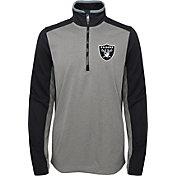 NFL Team Apparel Youth Oakland Raiders Matrix Quarter-Zip Fleece Pullover