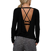 Onzie Women's Black Drapey V-Back Long Sleeve Shirt