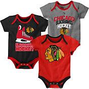 NHL Infant Chicago Blackhawks Power Play Onesie Red/Black/Grey 3-Pack