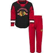 NHL Infant Chicago Blackhawks Black/Red Rink Rat Shirt and Pants Set