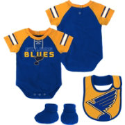 NHL Infant St. Louis Blues Little D-Man Navy/Gold Onesie Set