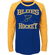 NHL Youth St. Louis Blues Morning Skate Navy/Gold Raglan Long Sleeve Shirt