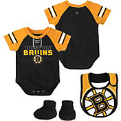 NHL Infant Boston Bruins Little D-Man Black/Gold Onesie Set