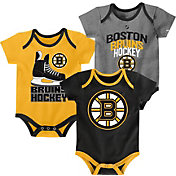 NHL Infant Boston Bruins Power Play Onesie Black/Gold/Grey 3-Pack
