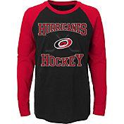 NHL Youth Carolina Hurricanes Morning Skate Black/Red Raglan Long Sleeve Shirt