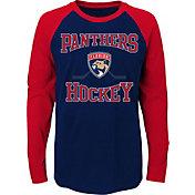 NHL Youth Florida Panthers Morning Skate Navy/Red Raglan Long Sleeve Shirt