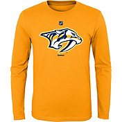 Reebok Youth Nashville Predators Gold Long Sleeve Logo T-Shirt