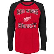 NHL Youth Detroit Red Wings Morning Skate Red/Black Raglan Long Sleeve Shirt