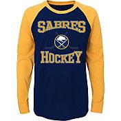 NHL Youth Buffalo Sabres Morning Skate Navy/Gold Raglan Long Sleeve Shirt