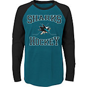 NHL Youth San Jose Sharks Morning Skate Teal/Black Raglan Long Sleeve Shirt