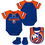 NHL Infant New York Islanders Little D-Man Royal/Orange Onesie Set