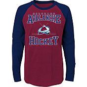 NHL Youth Colorado Avalanche Morning Skate Burgundy/Navy Raglan Long Sleeve Shirt