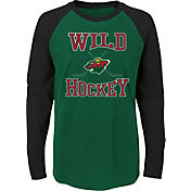 NHL Youth Minnesota Wild Morning Skate Green/Black Raglan Long Sleeve Shirt