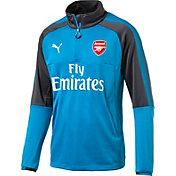 PUMA Men's Arsenal Quarter-Zip Blue Long Sleeve Training Top
