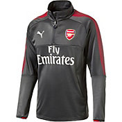 PUMA Men's Arsenal Quarter-Zip Grey Long Sleeve Training Top