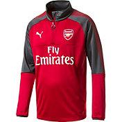 PUMA Men's Arsenal Quarter-Zip Red Long Sleeve Training Top