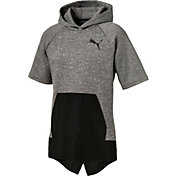 Puma Men's Active Training WinTech Fleece Short Sleeve Hoodie