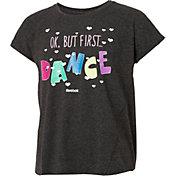 Reebok Girls' Cotton Split Back Okay But First Dance Graphic T-Shirt