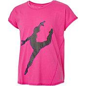 Reebok Girls' Cotton Split Back Dance Silhouette Graphic T-Shirt