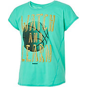 Reebok Girls' Cotton Split Back Watch & Learn Graphic Basketball T-Shirt