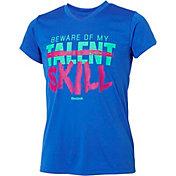 Reebok Girls' V-Neck Beware My Talent Graphic T-Shirt
