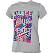 Reebok Girls' V-Neck Dance Your Heart Out Graphic T-Shirt