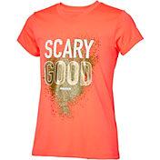 Reebok Girls' V-Neck Scary Good Graphic T-Shirt