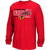 Reebok Men's Chicago Blackhawks Frozen Stripe Red Long Sleeve T-Shirt