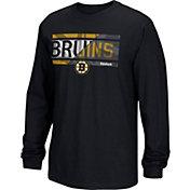 Reebok Men's Boston Bruins Frozen Stripe Black Long Sleeve T-Shirt