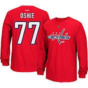 Reebok Men's Washington Capitals T.J. Oshie #77 Long Sleeve Player Red Long Sleeve T-Shirt
