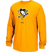 Reebok Men's Pittsburgh Penguins Jersey Crest Gold Long Sleeve T-Shirt