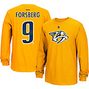Reebok Men's Nashville Predators Filip Forsberg #9 Long Sleeve Player Gold Long Sleeve T-Shirt