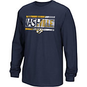 Reebok Men's Nashville Predators Frozen Stripe Navy Long Sleeve T-Shirt