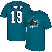 Reebok Men's San Jose Sharks Joe Thornton #19 Player Teal T-Shirt