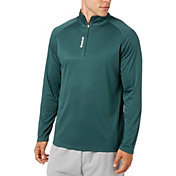 Reebok Men's Stripe Performance 1/4  Zip Long Sleeve Shirt
