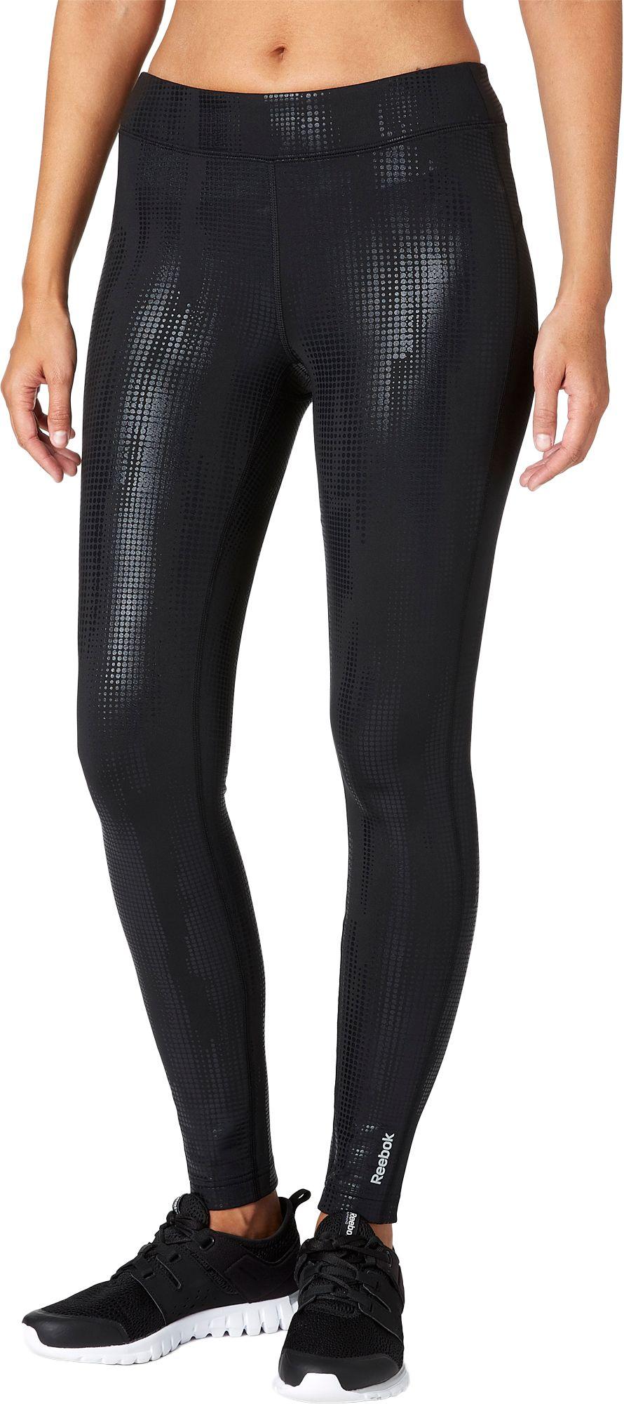 Reebok Women's Cold Compression Camo Foil Ankle Tights, Size: Medium, Black thumbnail
