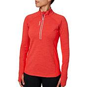 Reebok Women's Cold Weather Compression Space Dye Quarter Zip Long Sleeve Shirt