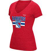 Reebok Women's New York Rangers Tri-Blend Red T-Shirt