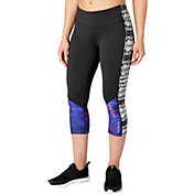 Reebok Women's Performance Essentials Pieced Printed Capris